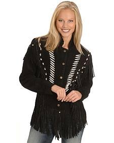 Liberty Wear Bone Bead & Fringe Leather Jacket