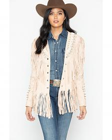 Liberty Wear Studded Fringed Leather Jacket