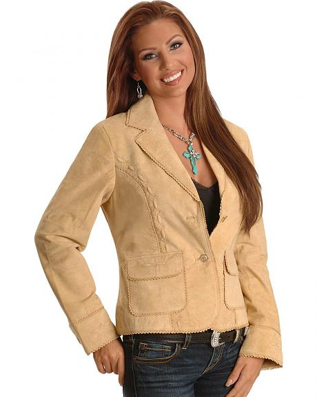 Scully Chamois Eyelet Trim Leather Blazer