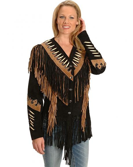 Cheyenne Beaded Fringe Leather Jacket