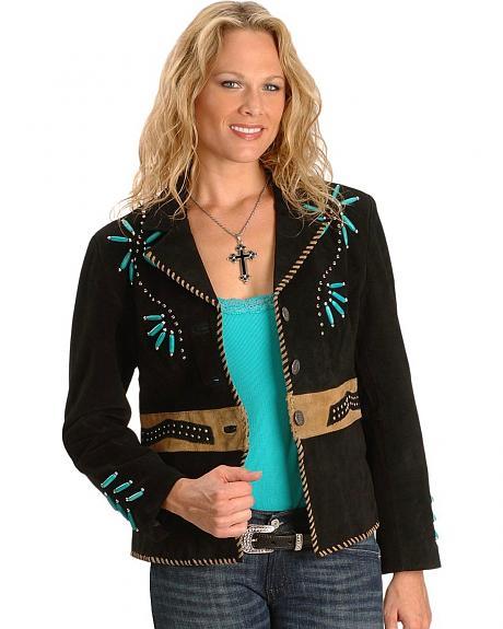 Sarah Beaded And Studded Leather Jacket