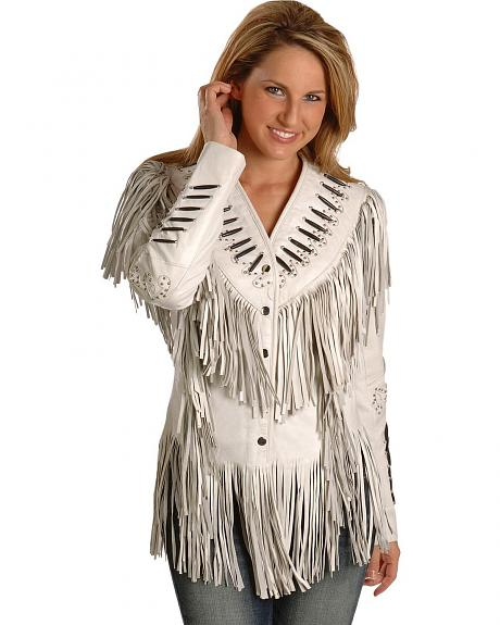 Bone Piping Fringe Lamb Leather Jacket