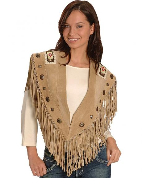 Concho and Bead Trim Leather Shawl