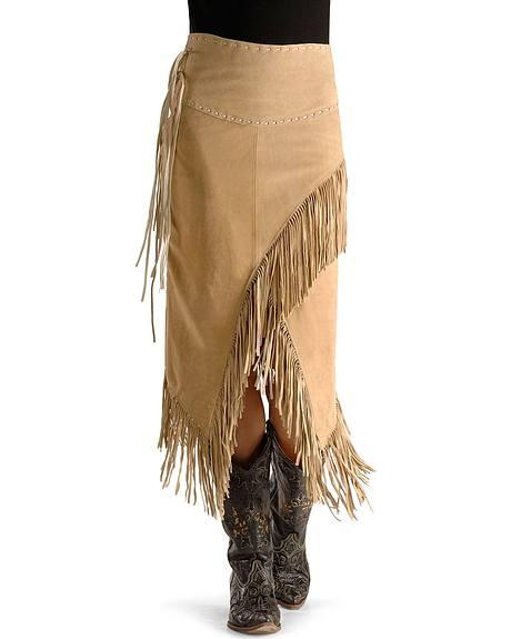 Asymmetrical Fringe Suede Leather Skirt