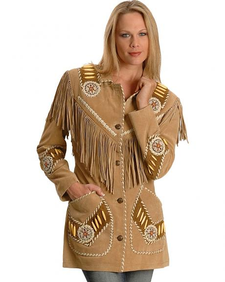 Juli Beaded & Fringed Suede Leather Jacket