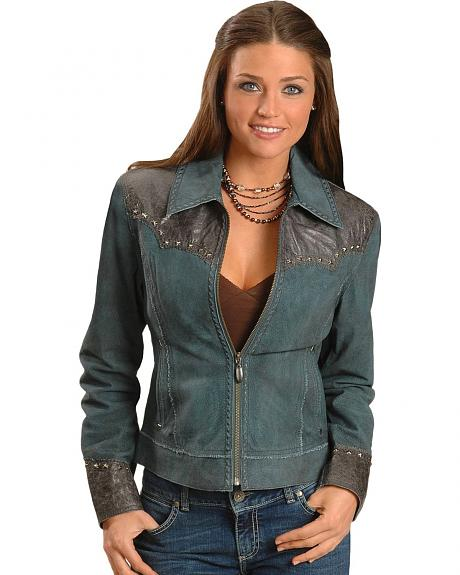 Cripple Creek Contrast Yoke Suede Leather Jacket