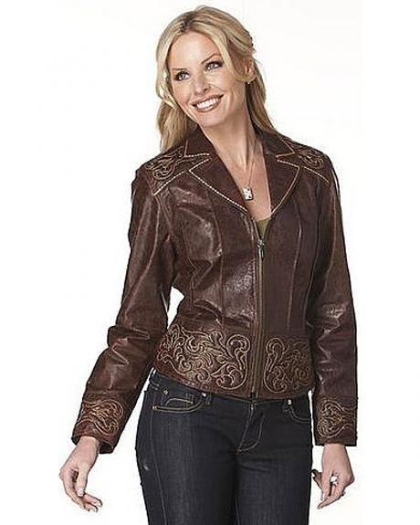 Cripple Creek Women's Contrast Embroidery Leather Jacket