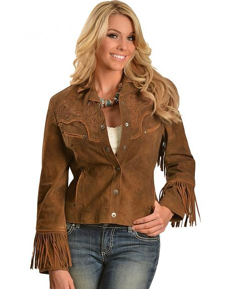 Cripple Creek Fringe & Embroidered Western Leather Jacket