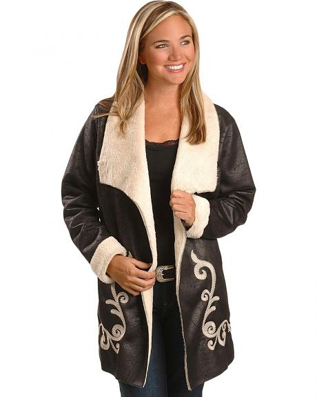 Ariat Women's Embroidered Shearling Maxi Coat