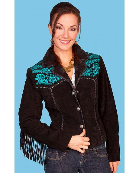 Scully Fringe & Red Floral Embroidered Western Yokes Leather Jacket