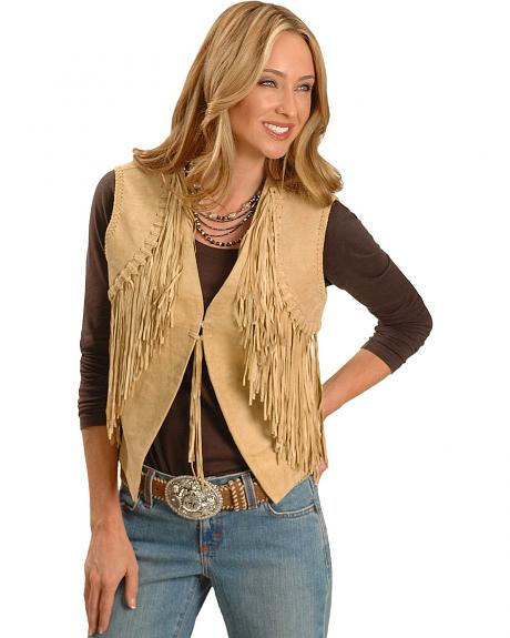 Scully Knotted Fringe Suede Vest