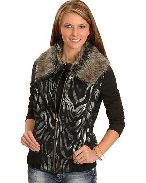 Powder River Metallic Zebra Print Vest