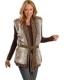 Cripple Creek Knitted Faux Fur Wrap Around Vest