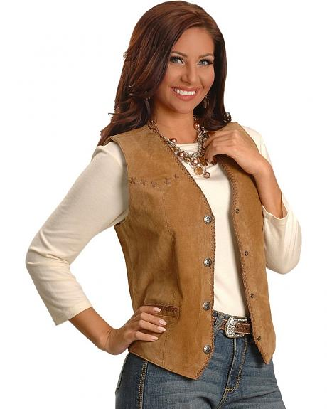 Cripple Creek Leather Laced Suede Vest