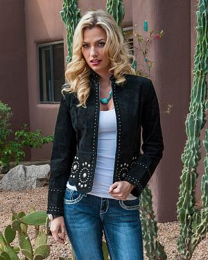 Scully Black Studded Suede Jacket