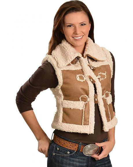 Faux Leather Sherpa Vest
