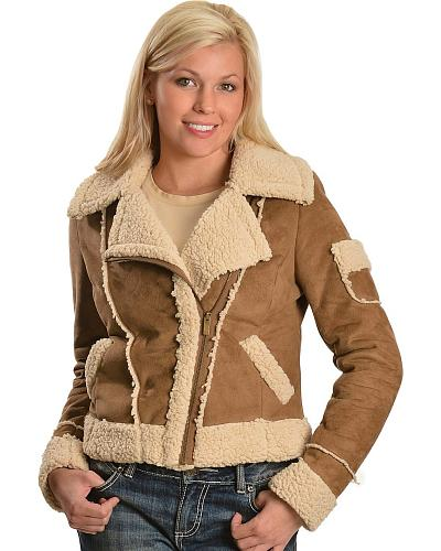 Jane Ashley Asymmetric Bomber Sherpa Jacket Western & Country 11882-PUA CAMEL