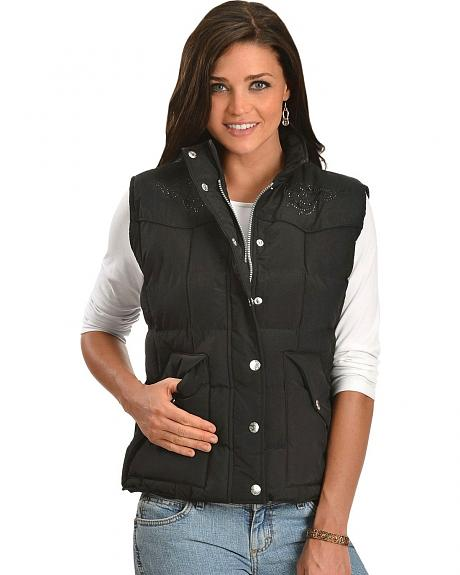 Cowgirl Hardware Rhinestud Embroidered Quilted Vest