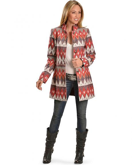 Red Ranch Aztec Woven Tapestry Jacket