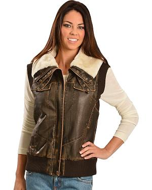 Cripple Creek Faux Leather Sherpa Lined Vest