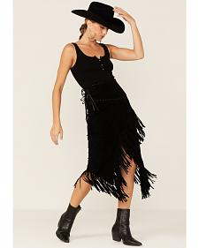 Scully Asymmetrical Fringe Suede Leather Skirt