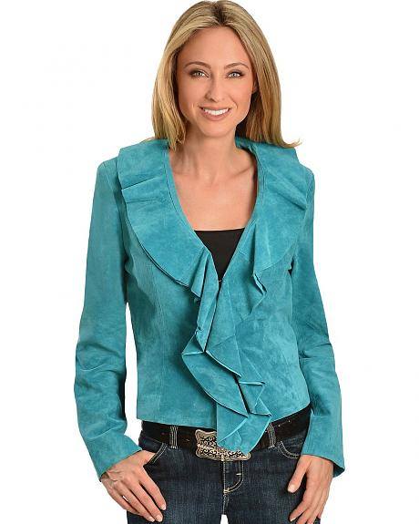 Scully Suede Leather Ruffle Front Jacket