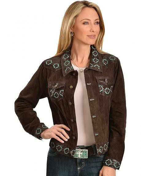 Scully Aztec Embroidered Suede Leather Jacket
