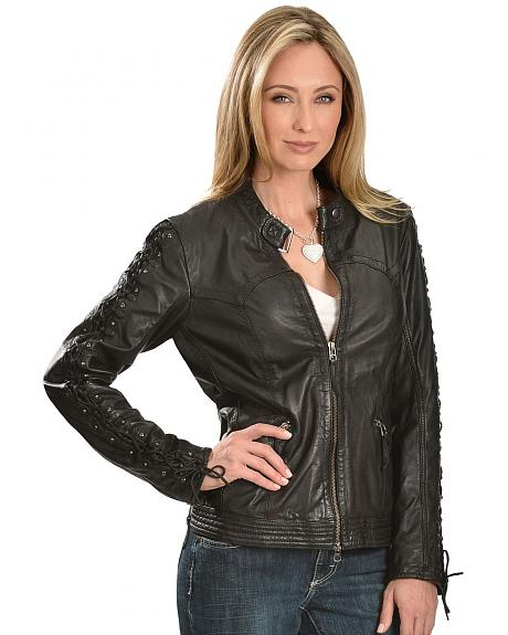 Scully Leather Laced Sleeve Jacket