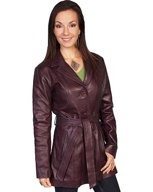 Scully Long Belted Leather Jacket