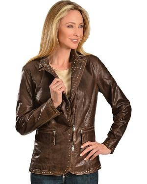Scully Studded Trim Leather Jacket