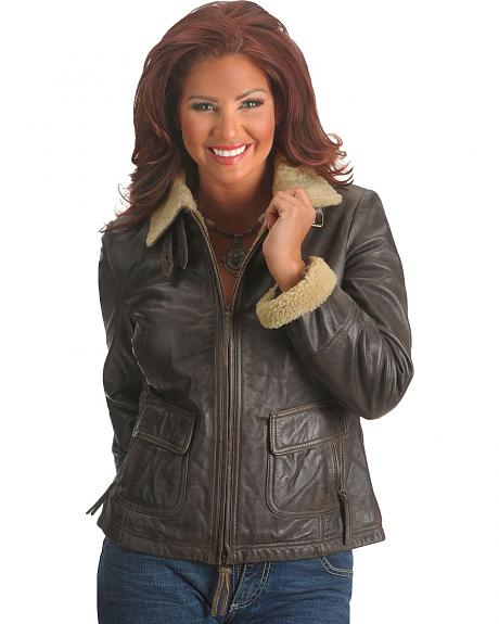 Scully Fur Collar Lamb Bomber Jacket