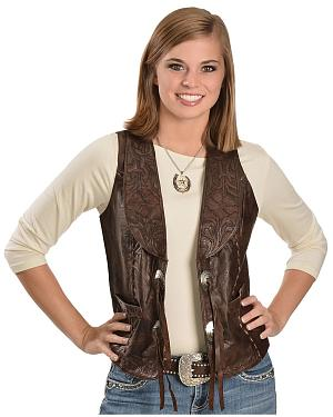 Kobler Floral Tooled Leather Vest