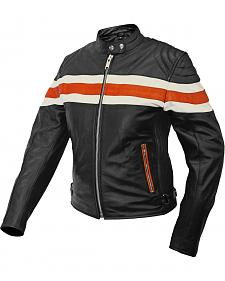 Interstate Leather Ladies Orange & Cream Striped Scooter Jacket - XL