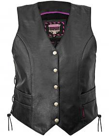 Interstate Leather 5-Snap Side Laced Vest - Reg