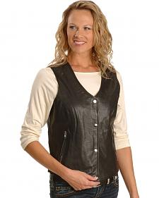 Milwaukee Motorcycle Studded Snap Front Leather Vest - XL