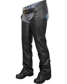 Interstate Leather Flared Leg Motorcycle Chaps - XL