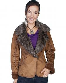 Scully Faux Fur and Suede Whipstitched Jacket