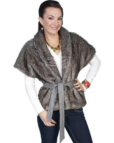 Scully Faux Fur Cropped Shawl Jacket $113.99 AT vintagedancer.com