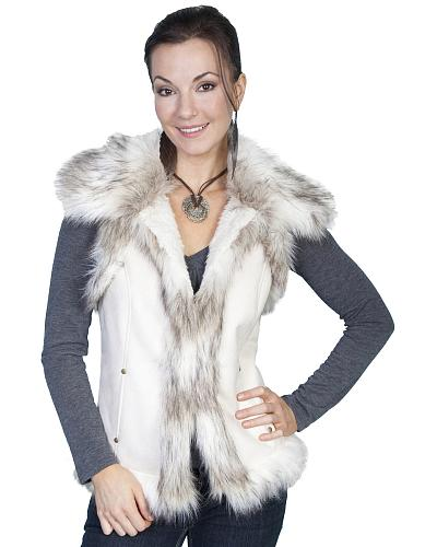 Scully Faux Fur Shoulder & Trim Vest Western & Country 8023 OFW