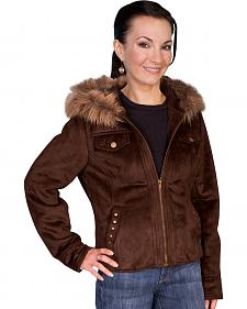 Scully Faux Fur Hooded Suede Jacket