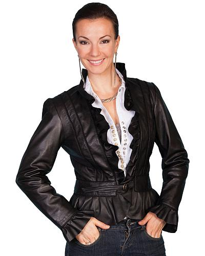Scully Ruffle Trimmed Lambskin Jacket Western & Country L619-11