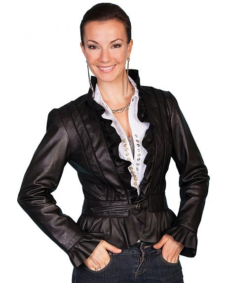 Scully Ruffle Trimmed Lambskin Jacket