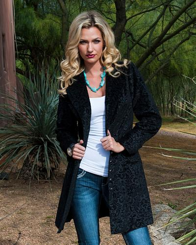 Scully Floral Flocked Coat Western & Country 730989 BLK