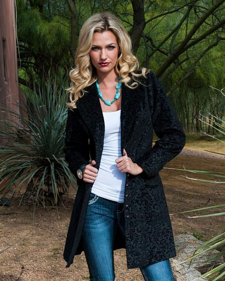 WahMaker by Scully Floral Flocked Coat