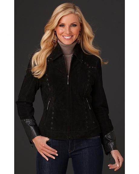 Cripple Creek Suede Studded Leather Jacket