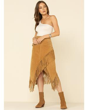 Scully Suede Leather Fringe Skirt