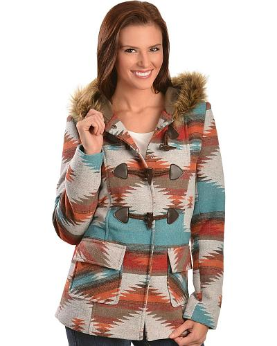 Red Ranch Aztec Sherpa Hooded Jacket Western & Country FL8874