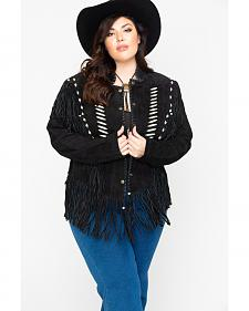 Liberty Wear Bone Bead & Fringe Leather Jacket - Plus