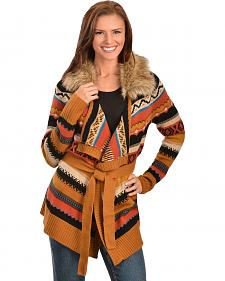 Panhandle Slim Women's Faux Fur Knit Aztec Cardigan