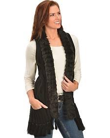 Panhandle Slim Women's Black Faux Fur Cable Knit Vest